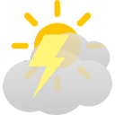 partly sunny, chance of thunderstorms