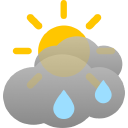 mostly cloudy, some rain showers